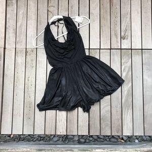 SILENCE + NOISE Black Sheeny Halter Style Romper